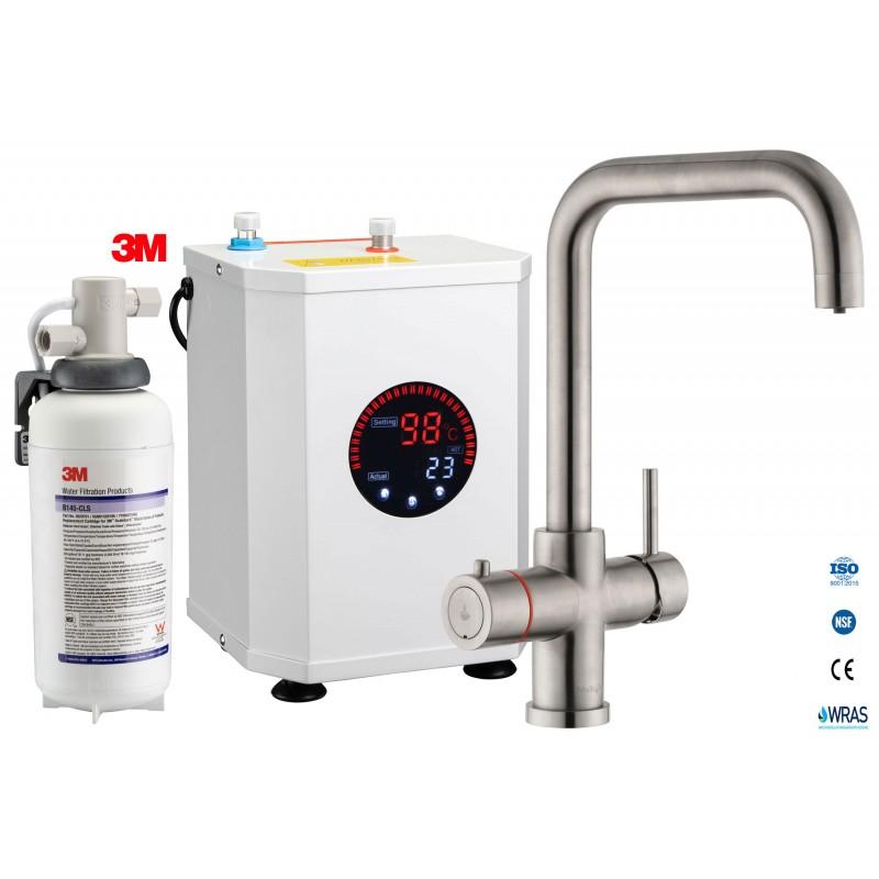 Multi-Tap 3-in-1 Kokend Water Kraan geborsteld RVS - Haaks